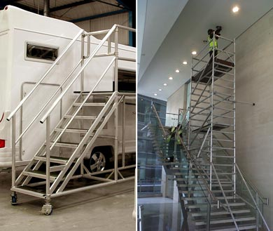 Access platforms for stairs and other hard to reach places